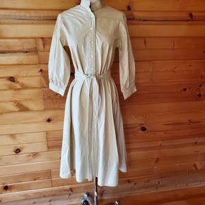 1980s Albert Capraro Light Tan Cotton Blend Dress